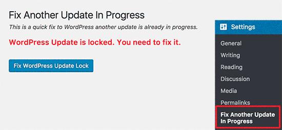 افزونه Fix Another Update In Progress